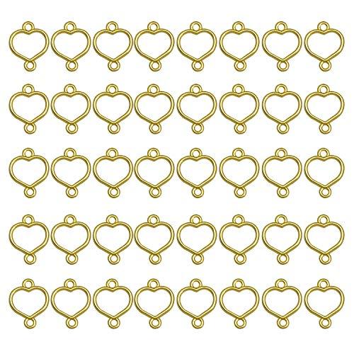 ミニレジン枠 空枠 MUNCVY フレーム パーツ ゴールド 40個 セット uvクラフト 大量 カン付き ハート型Bセット セッティング アクセサリーパーツ から枠 ブレスレット ペンダント ハンドメイド 手作り uvレジン 手芸材料