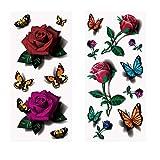 8fogli 3D tatuaggio temporaneo impermeabile adesivo calza catena decalcomania colorato fiore farfalla