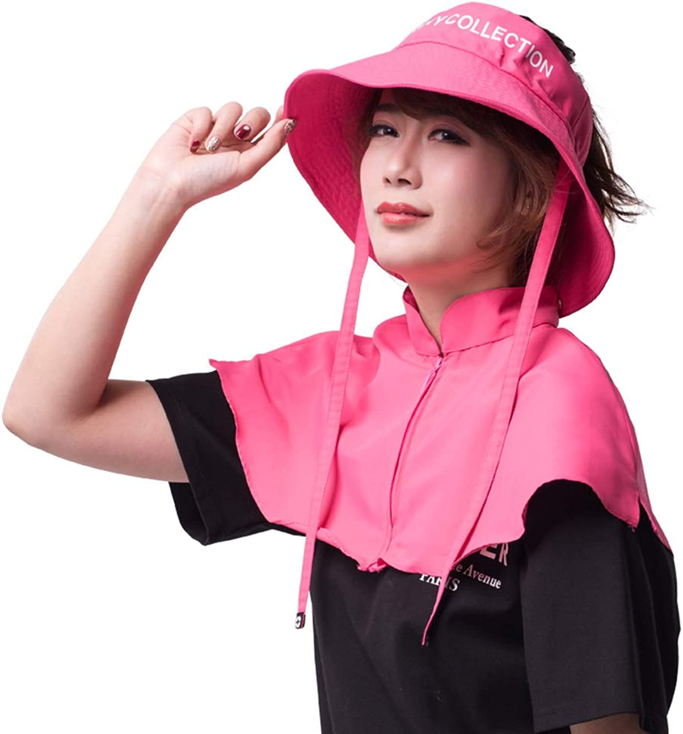 Warmth Supplies Hat Shawl Combo, Sun Predection Cap Female Summer Big Hat UV Predection Outdoor Face Fishing Folding Sunshade Cap