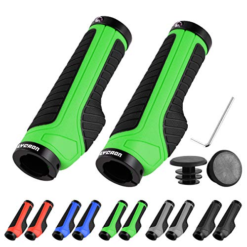 LYCAON Bike Bicycle Grips (Color-Blocking) Anti-Slip Bicycles Bikes Handlebar Grips Fits MTB/BMX/Mountain/Downhill/Foldable/Urban Bicycles/Scooter (Green - General End Caps)