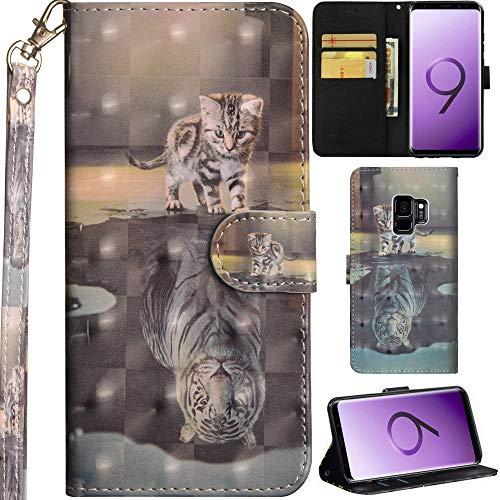 Ooboom Samsung Galaxy S9 Hülle 3D Flip PU Leder Schutzhülle Handy Tasche Hülle Cover Ständer mit Trageschlaufe Magnetverschluss für Samsung Galaxy S9 - Katze Tiger