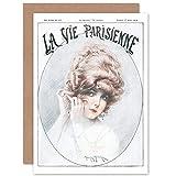 Artery8 La Vie Parisienne Woman with Earrings Magazine Cover Sealed Greeting Card Plus Envelope Blank Inside París Mujer Portada de la Revista Cubrir
