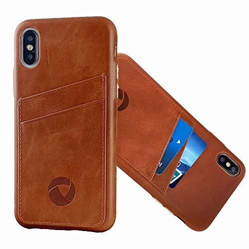 Luckycoin iPhone 11 Pro Leather Case with Card Holders Top Grain Cowhide Vintage Genuine Leather Ultra Thin Slim Luxury Handcraft Case Metal Buttons Support Wireless Charging for 2019 Apple New iPhone