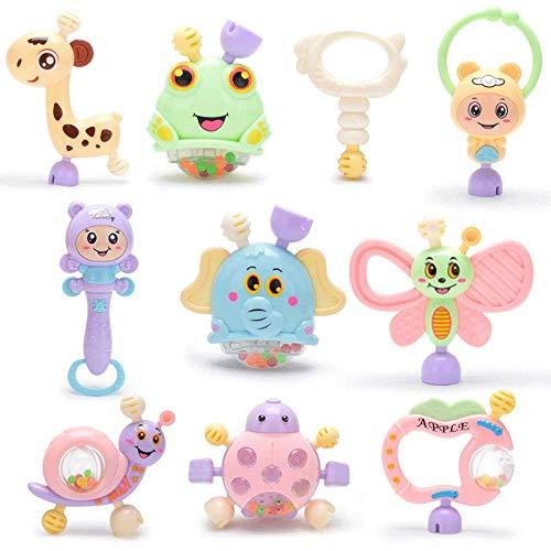 Mordedor para bebés masticables, juego de juguetes sonajero, juguetes educativos para bebés de 0 a 2 años, juguetes de entrenamiento sensorial para recién nacidos, regalos de juguetes para niños y niñ