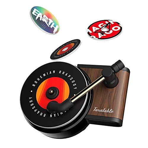 Ambientador de aire automático Enchufe Holder Clip de Perfume Retro Creativo tocadiscos de madera tocadiscos retro para salida de aire del coche Ambientador de aire automático Dispensador Clip