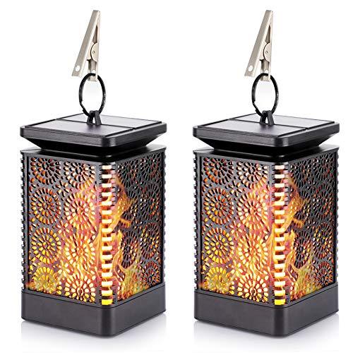 eecoo Solarleuchte Außen 2 Stück LED Solar Gartenleuchten mit Flackernden Flammen Wirkung, IP65 Wasserdicht Flammenlampe Nachtlicht für Garten, Bäume, Party Dekoration