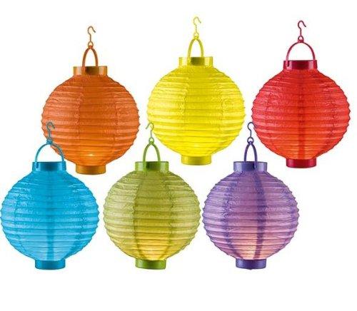 MQ Tuinfeestlamp, lantaarn, 6 kleurrijke lampen, werkt op batterijen, draadloos, 20 cm, tuinverlichting, buitenverlichting
