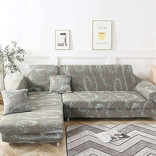Unmbo L Forma Sofá Cover, para En Forma De L Sofá Seccional Couch Funda De Sofá Protector, 2 Pcs Soft Stretch Funda, con Cubiertas 2pcs Almohada-23-forma de L 3+4 plazas