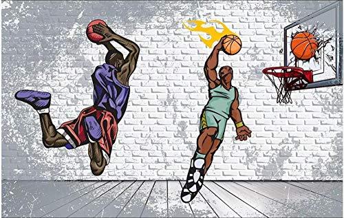 XLXBH Papel Pintado 3D Autoadhesivo Mural (W)350X(H)256Cm Foto 3D Wallpaper Nostálgico Pared De Ladrillo Baloncesto Trapecio Dunk Ktv Decoración Del Hogar 3D Mural Wallpaper 3D Wall,Sala De Niños Ofi