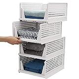 Esyhomi Armario organizador apilable, cajas de almacenamiento apilables, armario organizador, cuarto de baño, cesta de almacenamiento apilable para cocina, dormitorio (4 piezas), color blanco