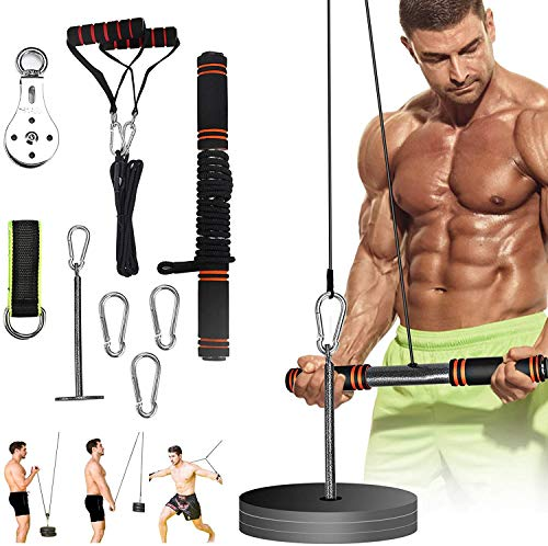 Forearm Wrist Roller Trainer Arm Strength Training Exerciser with Heavy Duty Pulley System for Lat Pull...