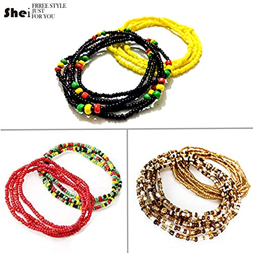 6 Piece Summer Jewelry Waist Bead Set Colorful Waist Bead Belly Bead African Waist Bead Body Chain Beaded Belly Chain Bikini Jewelry for Woman Girl