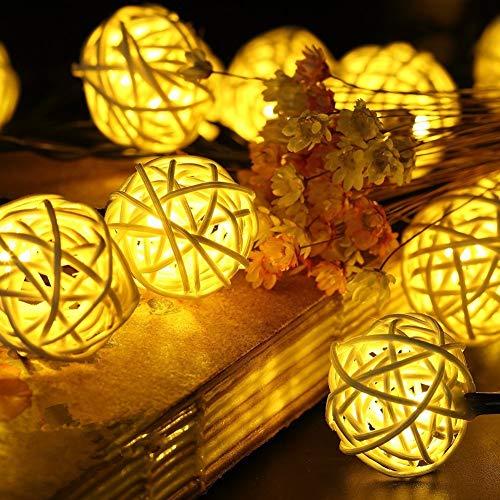 Morbuy Guirlande Lumineuse Boule, Batterie Lumineuse Boules 20 LED Boules Longueur 2 Mètres Alimenté Ficelle Lumière Décoration pour La Saint Valentin Noël Fêtes Mariage d'autres Fêtes (Blanc Chaud)