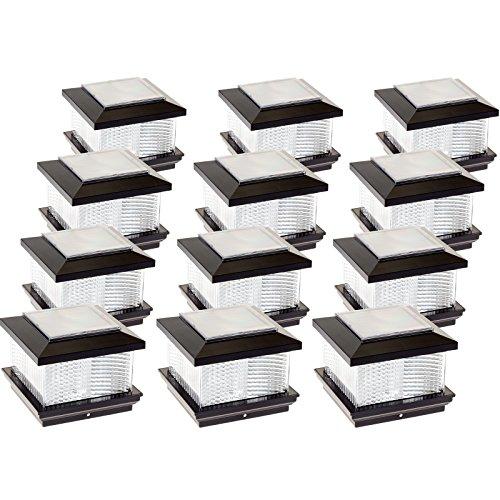 GreenLighting 12 Pack Solar LED Post Cap Light for 4 x 4 Vinyl Posts w/Wood Post Adapter (Black)