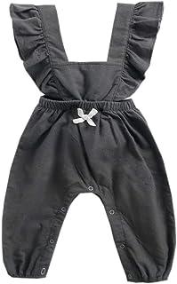 EISHOW 0-3T Newborn Baby Girls Boys Bodysuit Onesie Ruffles Sleeveless Jumpsuit Bowknot Leggings Pants Romper Overalls