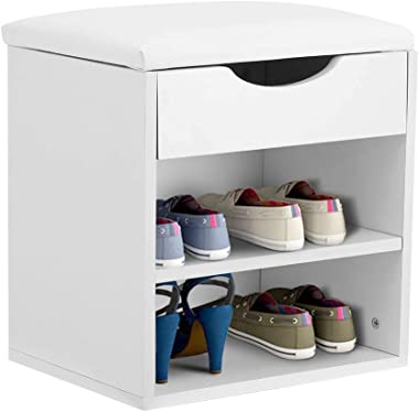 Shoe Rack Bench, 2 Shelves Shoe Organizer Storage Shelf Vanity Makeup Stool with Hidden Storage Comprtment and Cushioned Seat for Entryway Hallway Living Room Bedroom - White