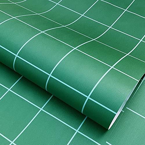 New Grau Dunkel Geometrisches Tapete Rolle Grau Schwarz-Wand-Papier Modernes Design Schlafzimmer Wohnzimmer Hintergrund Hauptwanddekor (Color : Green Plaid, Size : 1 m Width 60cm)