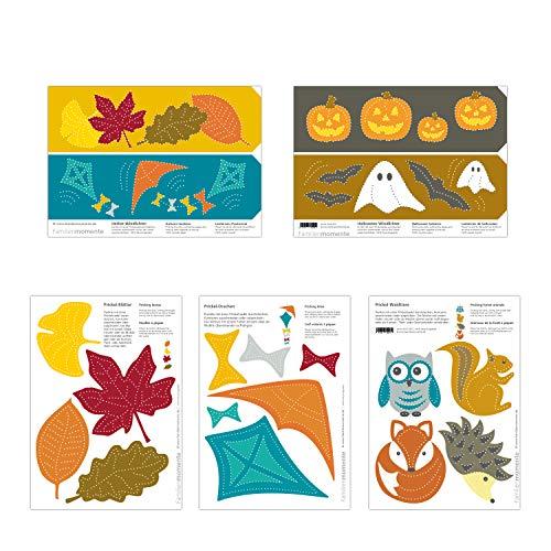 Familienmomente 10 Bastelbogen zum Prickeln Herbst (2X Blätter, 2X Drachen, 2X Waldtiere, 2X Halloween-Windlichter, 2X Herbst-Windlichter) DIN A5