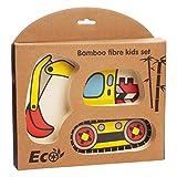 CYSJ Stoviglie per Bambini in fibra di Bambù Cartone Animato Scompartimento Bamboo Riciclabile, Senza BPA, Bilanciato Dieta per Bambini, Escavatore
