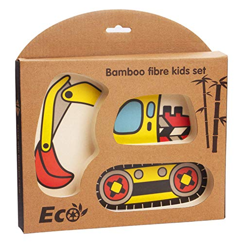 CYSJ Set Vajilla Infantil de Bambú sin Bpa, fibra de Bambú, Servicio de Mesa Cubertería para Niños Tazón Vaso de Beber Plato para Niños, Material sin BPA