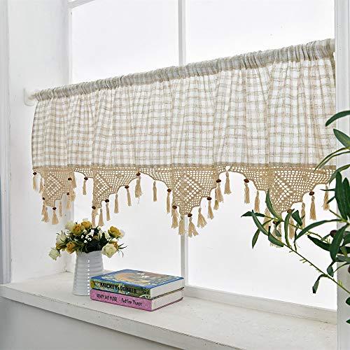 choicehot Vintage Plaid Crochet Lace Curtains Cafe Elegant Cotton Linen Short Curtains Country Style Beige Kitchen Curtain Retro Shabby Bistro Curtain 1 Piece, H45 × W180cm