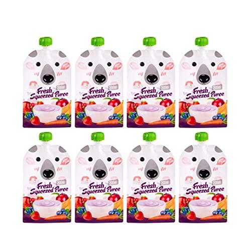 MOVKZACV 8 stks Hervulbare Baby Voedsel Zakjes, Dubbele Rits Herbruikbare Voedsel Zakken voor Thuis Reizen Draagbare Baby Voeding Pack Zakken (Capaciteit: 200ml)