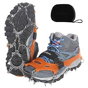 Unigear Crampones Ligero de Nieve Hielo 18 Puntas Dientes De Acero Zapatos Antideslizante para Cámping Alpinismo… 5