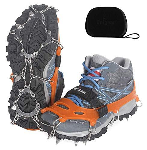Unigear Steigeisen für Bergschuhe, mit 18 Zähnen, Schuhkrallen, Eisspikes, Schneekette, Grödel und Spikes für Klettern Bergsteigen Trekking High Altitude Winter Outdoor (Orange M)