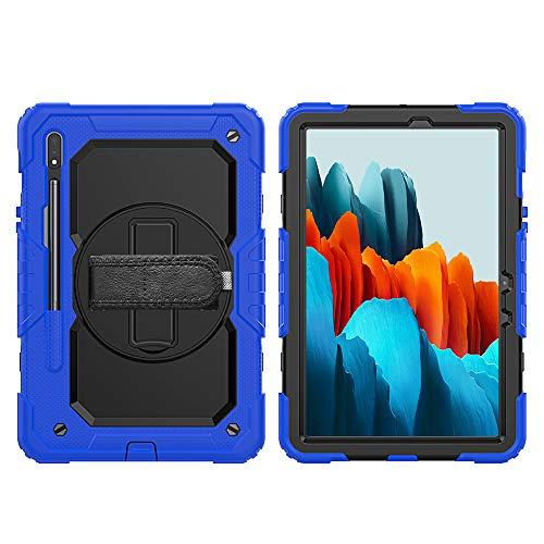 Lobwerk Funda protectora 4 en 1 para Samsung Galaxy Tab S7 T-870 T-875 de 11 pulgadas con función atril y correa de transporte, color azul
