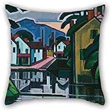 Artsdesigningshop 16 X 16 Inches / 40 by 40 cm Oil Painting Oscar Bluemner - Old Canal Port Throw Pillow Case Both Sides is Fit for Dining Room Bedroom Family Him Lounge Outdoor