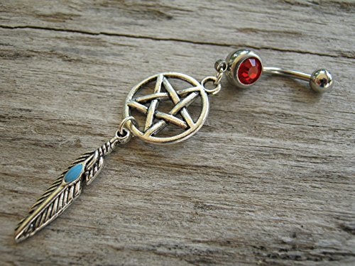 PERSONALIZED Pentacle Dreamcatcher Belly Button Ring, Antiqued Silver Feather Body Piercing Jewelry