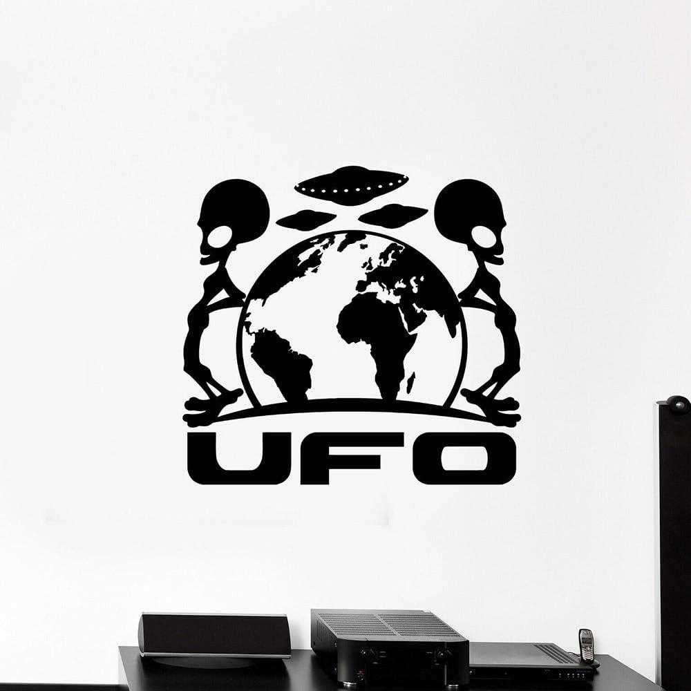 Alien space platillo volador etiqueta de la pared planeta tierra ...