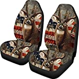 ZERODATE American Flag Camouflage Deer Front Seat Car Cover Set of 2 Machine Washable Saddle Blanket Bucket Bucket Seat Cover Anti-Slip Protector
