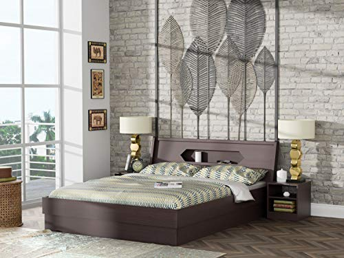 STYLESPA Cove Queen Size Engineered Wood Bed with Box Storage (MDF - Bamboo)