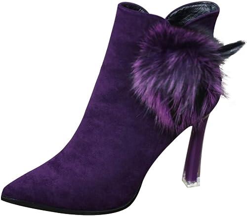 SFSYDDY Chaussures Populaires Le Relevé des Femmes Nues 10 5 5 Cm De Talon Haut Bottes Hiver Velveted Bottes Bien des Talons Talons Hauts