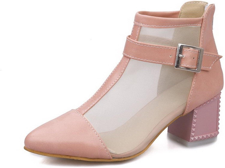 AllhqFashion Women's Soft Material Pointed Closed Toe Kitten-Heels Zipper Solid Sandals