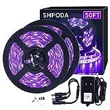 SHPODA 50ft/15M LED Black Light Strip Kit,900 Units Lamp Beads, 385nm-400nm,12V Flexible Blacklight Fixtures,5M LED Ribbon,Non-Waterproof for Indoor,Birthday,Wedding,Dark Party