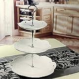Gemini _ Mall 3stöckige Kuchenetagère Kuchen Teller Ständer Griff Armatur Hochzeit Party Tisch Dekor silber