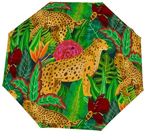 Umgekehrter winddichter Tiger Jaguars Tropischer Regenschirm – umgedrehter Regenschirm mit C-förmigem Griff für Damen und Herren – doppelter Schirm