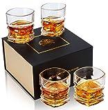 KANARS Verre à Whisky, Verres a Whiskey en Cristal, Belle Boîte Cadeau, Lot de 4 Pièces, 300ml