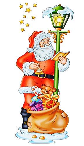 alles-meine.de GmbH 1 Stück _ langes XL - Fensterbild -  Weihnachtsmann mit Geschenkesack  - statisch haftend - selbstklebend + wiederverwendbar / Weihnachten - lang - Sticker ..