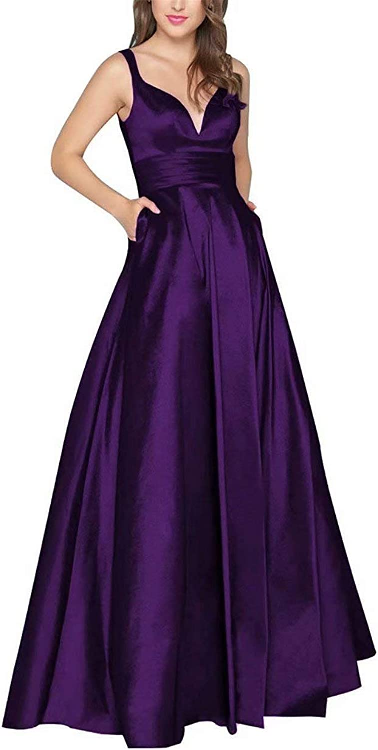 UZN Women's V Neck Satin Prom Dresses Long Backless Packet Formal Evening Party Gowns