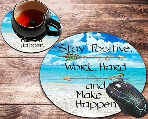 Round Mouse Pad and Coaster Set, Stay Positive Work Hard Make It Happen Arrow Print Inspirational Quote,Blue Ocean Beach Scene Mousepad, Non-Slip Rubber Base Gaming Mouse Pads for Working Or Game