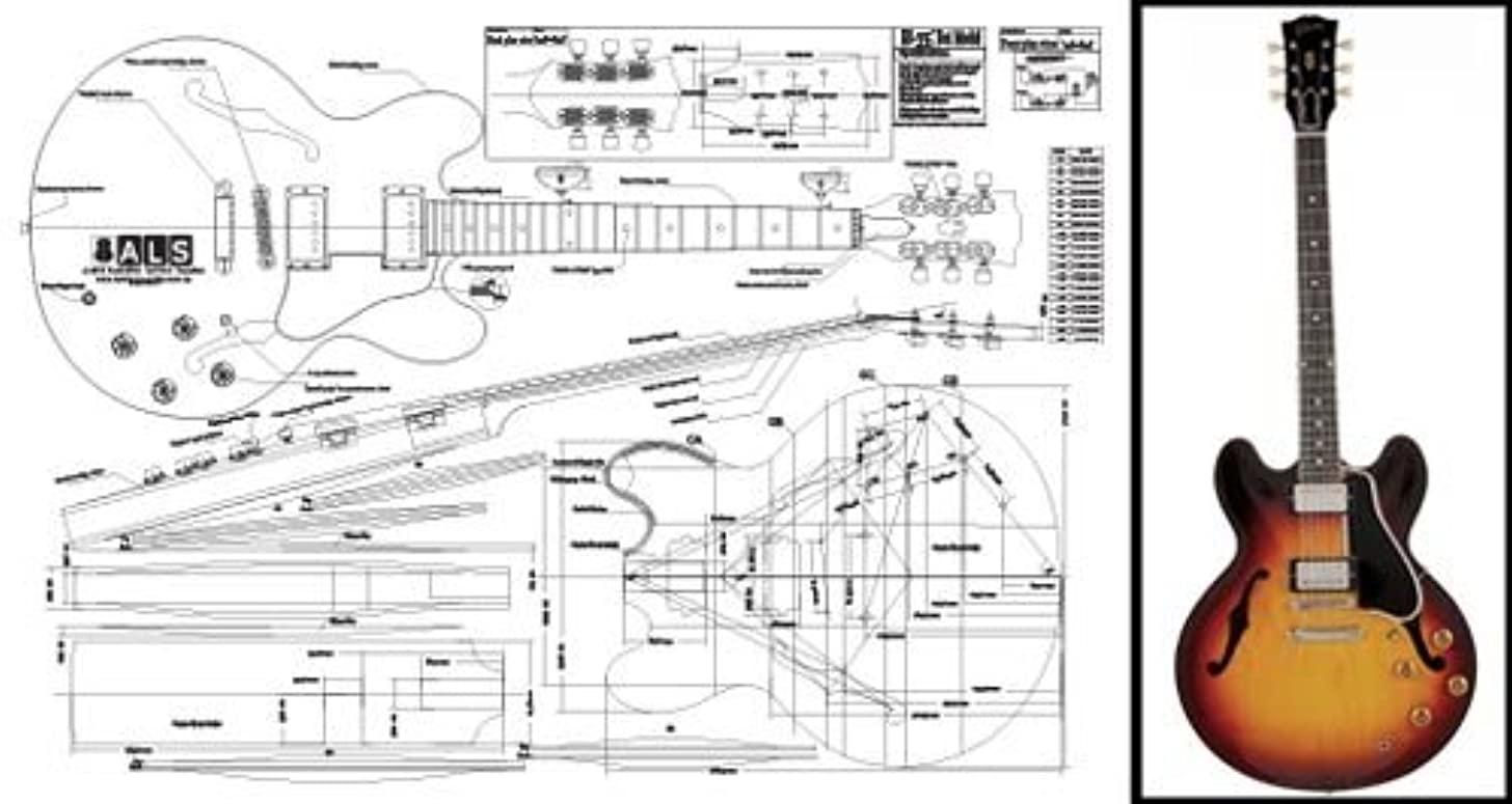 Plan of Gibson ES-335 Hollow Body Electric Guitar - Full Scale Print