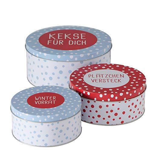 CasaJame 3er Set Metall Keksdose Plätzchendose blau rot weiß mit Spruch Kekse Plätzchen Wintervorrat Sortiert H6-9cm