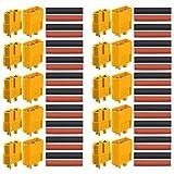 FULARR® 20個 プレミアム XT60オスメスバッテリコネクタ、10ペア XT60プラグオスコネクタ と プラグコネクタアダプタ、熱収縮チューブ付き金メッキコネクタ電源プラグ、RC Lipo用