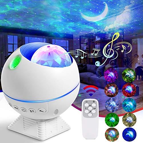 LED Projektor Sternenhimmel Lampe, FOCHEA Sternenhimmel Projektor Nachtlicht mit Fernbedienung/Starry Stern/Wasserwellen-Welleneffekt/Mond/mit Vielseitig Beleuchtungsmodi Perfekt für Kinder Party