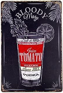 dingleiever-Tin Sign Nostalgic Alcohol Retro Bloody Mary Recipe