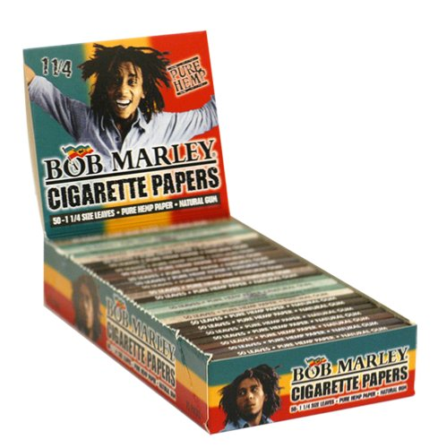 Bob Marley Cigarette Rolling Paper 50 1 1/4' Leaves Pk, Pure Hemp 25 Packs 1.25' Size