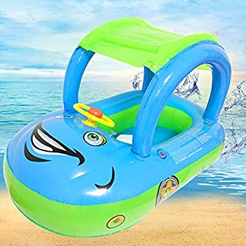 Baby Pool Float with Canopy Car Shaped Swim Float Boat with Sunshade for Toddler Infant Boys Girls Pool Floaties Cute Boat Summer Beach Outdoor Play